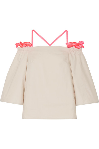 Paskal - Cutout Ruffle-trimmed Stretch-cotton Poplin Top - Bright pink