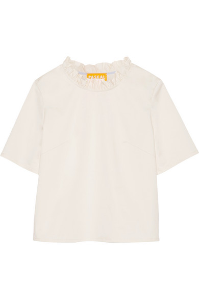 Paskal - Ruffle-trimmed Stretch-cotton Top - Off-white
