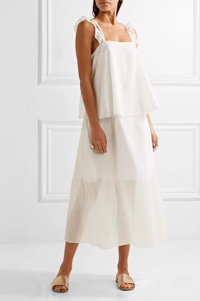 Paskal Woman Ruffle-trimmed Laser-cut Cotton-blend Dress White Size S Paskal ayaH8gK
