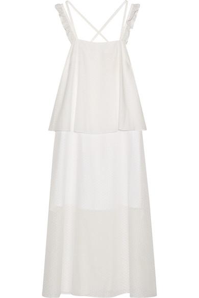 Paskal Woman Ruffle-trimmed Laser-cut Cotton-blend Dress White Size S Paskal KAkDp