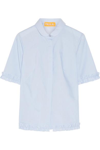 Paskal - Ruffle-trimmed Stretch-cotton Poplin Shirt - Sky blue