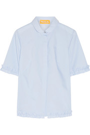Ruffle-trimmed stretch-cotton poplin shirt