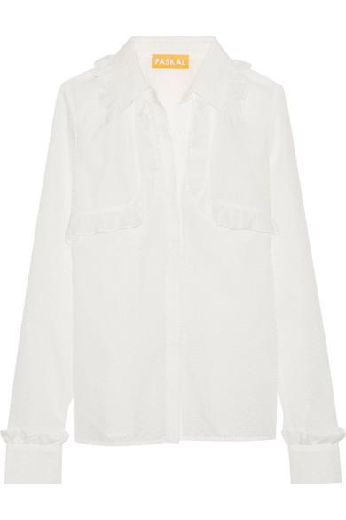 Paskal - Ruffle-trimmed Laser-cut Cotton-blend Shirt - White