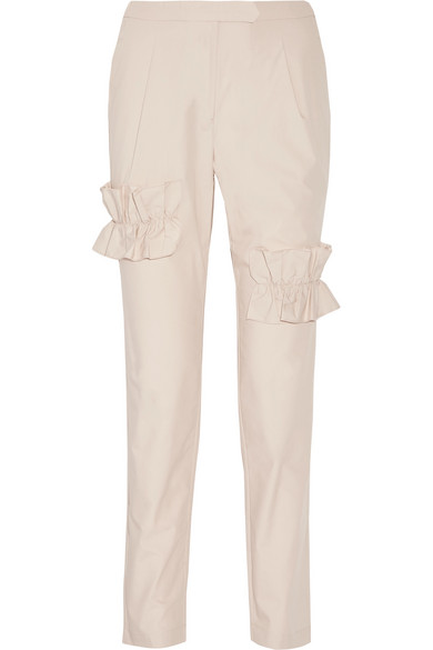 Paskal - Ruffle-trimmed Stretch-cotton Poplin Straight-leg Pants - Beige