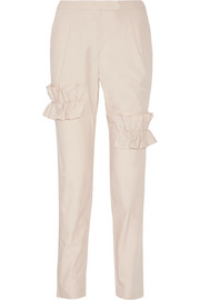 Ruffle-trimmed cotton-blend straight-leg pants