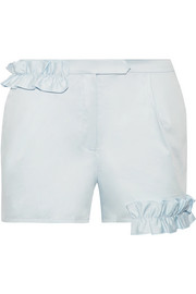 Ruffle-trimmed cotton-blend shorts