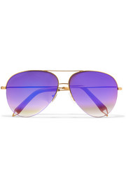 Aviator-style bronze-tone mirrored sunglasses