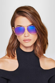 Victoria Beckham Aviator-style bronze-tone mirrored sunglasses