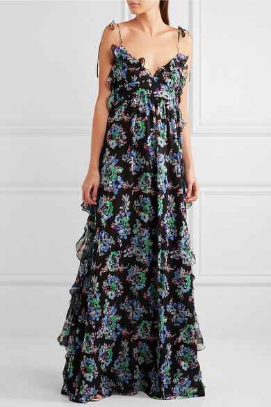 MSGM  Ruffled floral-print silk-chiffon maxi dress  NET-A-PORTER.COM