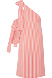 MSGM Bow-embellished one-shoulder striped seersucker dress