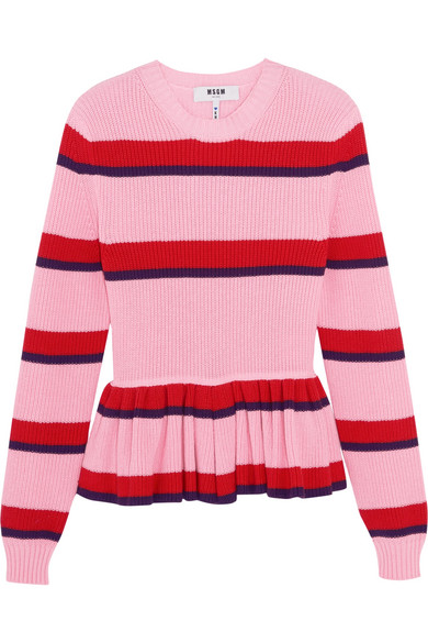 MSGM - Striped Cotton Peplum Sweater - Pink