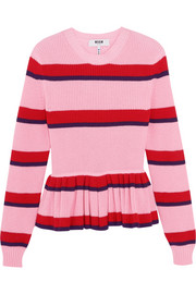 Striped cotton peplum sweater