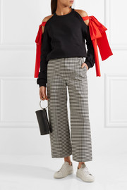 MSGM Poplin-trimmed cutout cotton-jersey top