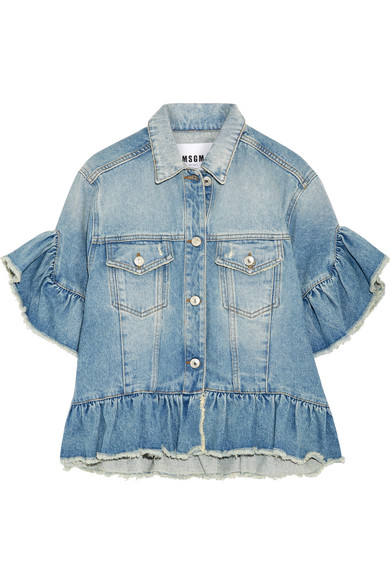 0d917c0354 MSGM | Distressed ruffle-trimmed denim jacket | NET-A-PORTER.COM