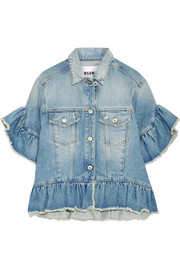 MSGM Distressed ruffle-trimmed denim jacket
