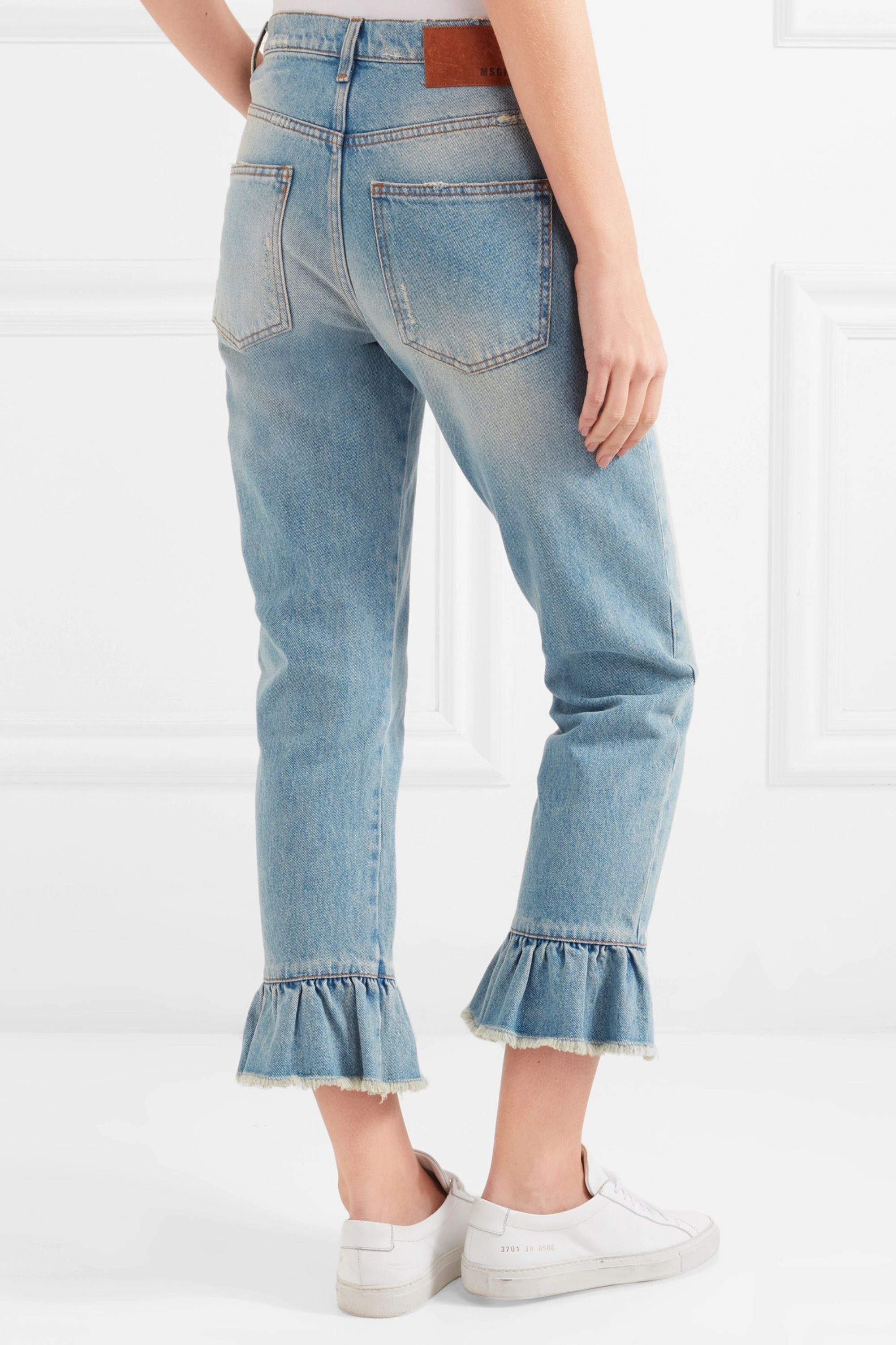 MSGM Distressed ruffle-trimmed high-rise straight-leg jeans