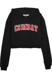 MSGM Cropped printed cotton-terry hooded top