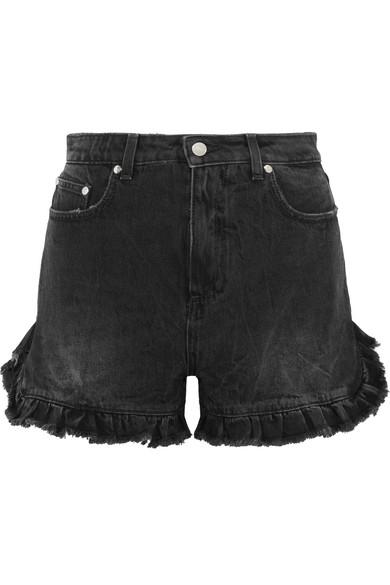 Ruffled distressed denim shorts
