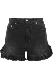Ruffled distressed denim shorts