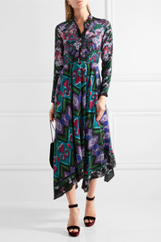 Cerise asymmetric printed silk-crepe maxi dress