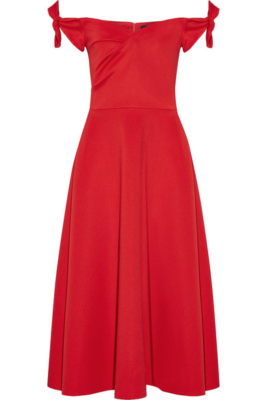 Ruth off-the-shoulder stretch-neoprene midi dress