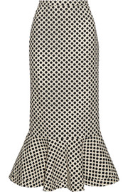 Portia polka-dot stretch-crepe skirt