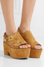 See by Chloé Embroidered suede platform sandals
