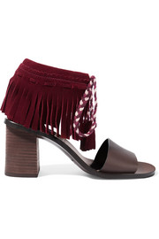 Fringed suede and leather sandals