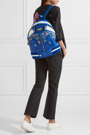 Moschino Embroidered leather backpack