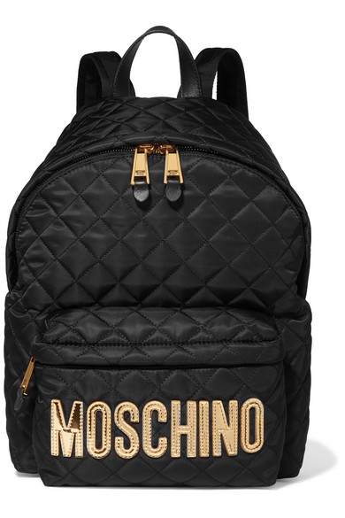 Moschino - Appliquéd Quilted Shell Backpack - Gold