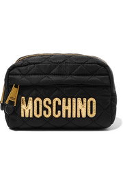 Moschino Metallic faux leather-trimmed quilted shell cosmetics case