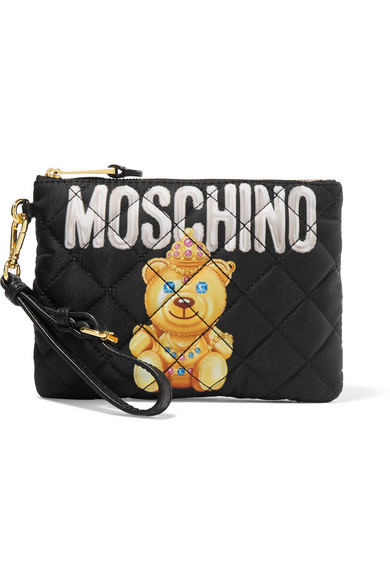 Moschino - Quilted Printed Shell Pouch - Black