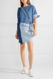 Ruffled paneled denim mini dress