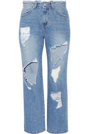 SJYP Steve J & Yoni P Cropped distressed high-rise straight-leg jeans