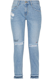 SJYP Steve J & Yoni P Embroidered distressed high-rise skinny jeans