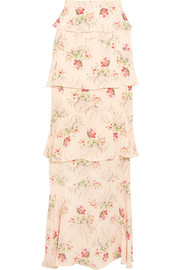 Jasmine tiered printed silk-georgette maxi skirt