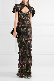 Bella cape-effect printed silk-georgette maxi dress