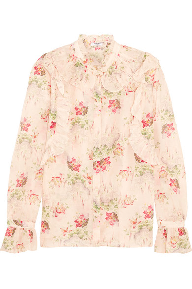 Vilshenko - Rhea Ruffled Printed Cotton And Silk-blend Blouse - Baby pink