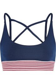Dion stripe-trimmed stretch-jersey sports bra