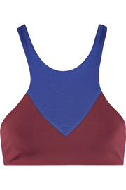 Lyon two-tone stretch-jersey sports bra