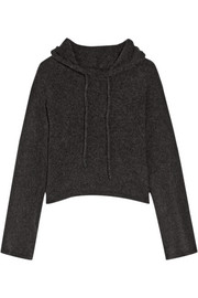 The Elder Statesman Cropped hooded cashmere sweater