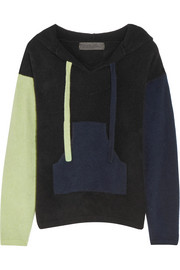 Baja hooded color-block cashmere sweater