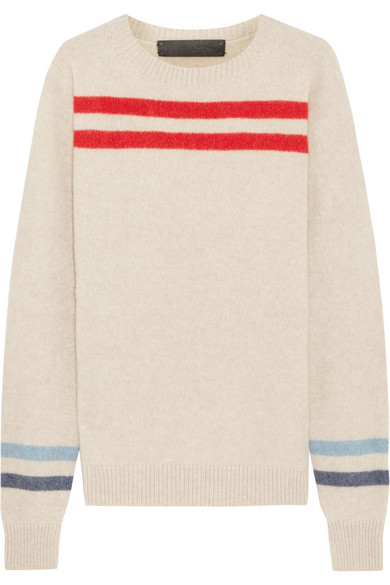 The Elder Statesman - Heavy Space Striped Cashmere Sweater - White