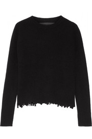 The Elder Statesman Distressed ribbed cashmere sweater