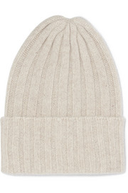 Short Bunny Echo ribbed cashmere beanie