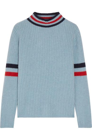 The Elder Statesman - Odyssey Striped Ribbed Cashmere Turtleneck Sweater - Light blue