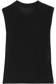 Royal cashmere and silk-blend tank