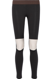 Moto striped stretch-jersey leggings