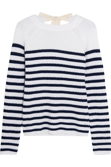 Joseph - Bow-detailed Striped Cashmere Sweater - White