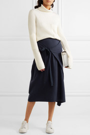 Wrap-effect cotton-jersey midi skirt